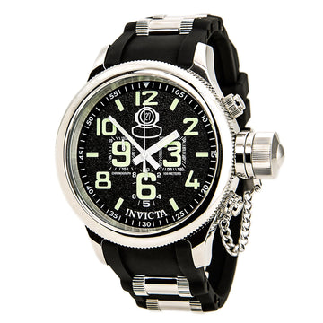 Invicta Men's Chronograph Steel & Polyurethane Strap Watch - Signature Black Dial