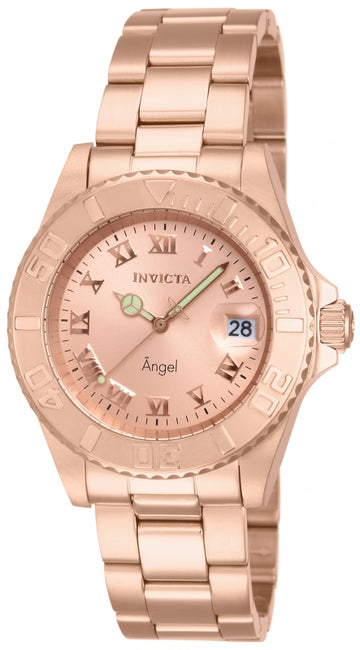 Invicta 14322 Women's Rose Gold Stainless Steel Swiss Quartz Angel Rose Gold Dial Date Watch