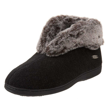 Acorn Women's Slipper - Chinchilla Bootie II Faux Fur, Black | A11043