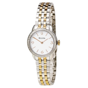 Bulova Women's Diamond Two Tone Rose Gold Bracelet Watch - Quartz White Dial | 98R182