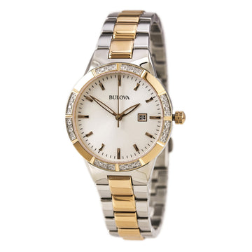 Bulova 98R169 Women's Two Tone Rose Gold Steel Quartz White Dial Diamond Watch