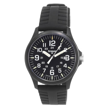 Traser Men's Strap Watch - Officer Pro Black Dial Black Silicon | 107103
