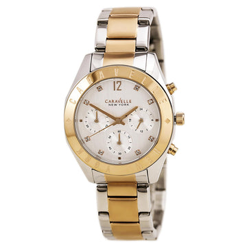 Caravelle 45L156 Women's Two Tone Rose Gold Steel Quartz Chrono Silver Dial Watch