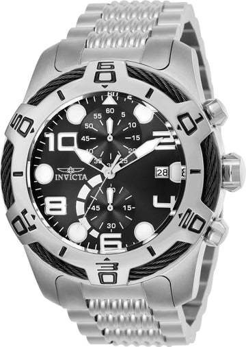 Invicta Men's Chronograph Watch - Bolt Black Dial Stainless Steel Bracelet | 25547