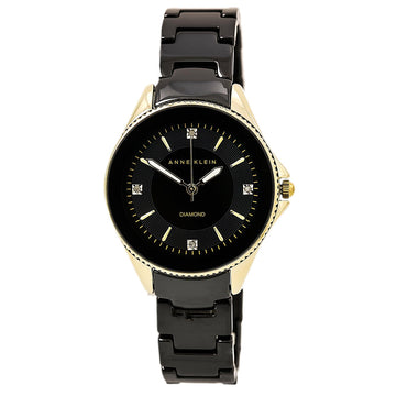 Anne Klein 2390BKGB Women's Quartz Ceramic Bracelet Black Dial Diamond Watch