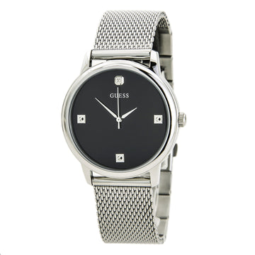 Guess U0280G1 Men's Mesh Bracelet Quartz Diamond Black Dial Watch