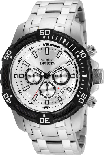 Invicta 24854 Men's Pro Diver Chronograph Silver Dial Steel Bracelet Watch