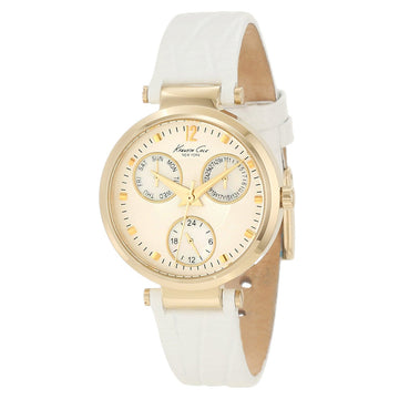 Kenneth Cole KC2561 Women's White Leather Strap Quartz Classic Beige Dial Day-Date Watch