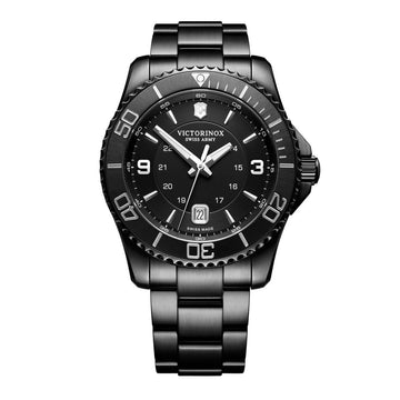 Victorinox Swiss Army Men's Bracelet Watch - Maverick Black Dial Black IP Steel Quartz | 241798