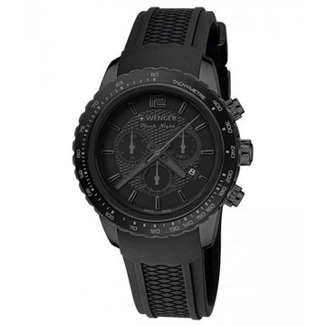 Wenger 01.0853.111 Men's Roadster Black Night Black Silicone Strap Black Dial Chronograph Date Watch