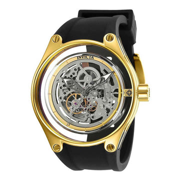 Invicta Men's Silicone Strap Watch - Anatomic Automatic Silver Skeleton Dial | 25114
