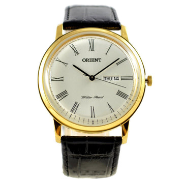 Orient Men's Capital 2 Classic Leather Strap Watch - White Dial Yellow Gold Steel