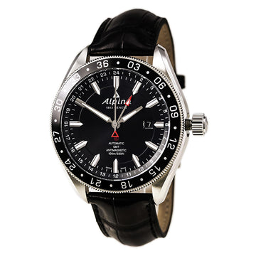Alpina AL-550G5AQ6 Men's Alpiner 4 GMT Black Dial Black Leather Strap Automatic Watch