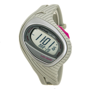 Soma Dwj07-0002 Unisex Runone 100 Grey Strap Grey Digital Dial Sports Day Date Watch