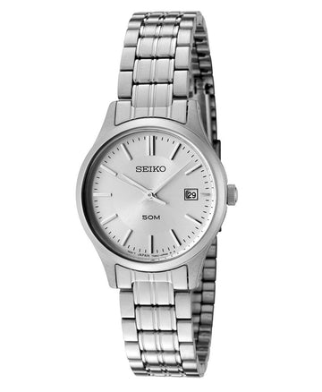 Seiko SXDC37 Women's Stainless Steel Silver Dial 50M WR Watch