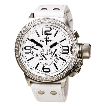 TW Steel TW10R Men's Canteen Chronograph White Dial White Leather Strap Crystal Accented Bezel Watch