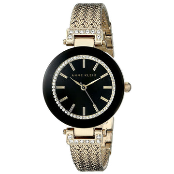 Anne Klein 1906BKGB Women's Quartz Yellow Mesh Bracelet Black Dial Swarovski Crystal Watch