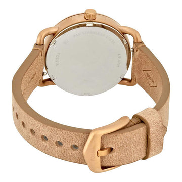 Fossil Women's Strap Watch - The Commuter White Dial Beige Leather | ES4335