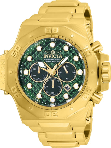 Invicta Men's Chronograph Watch - Akula Green Dial Yellow Steel Bracelet Dive | 26042