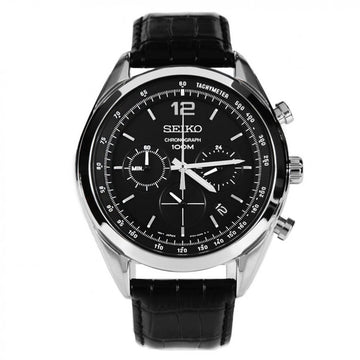 Seiko Men's Chronograph Watch - Quartz Black Leather Strap Black Dial | SSB097P1