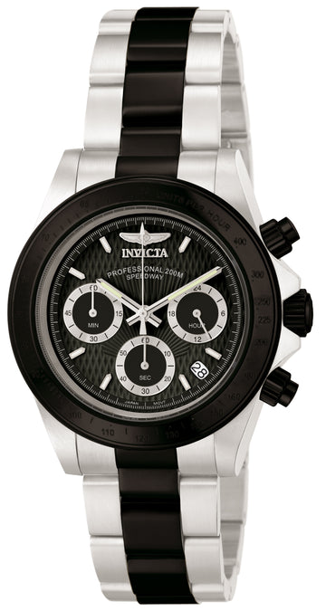 Invicta 6934 Men's Two Tone Black Bracelet Quartz Speedway Chrono Black Dial Date Watch