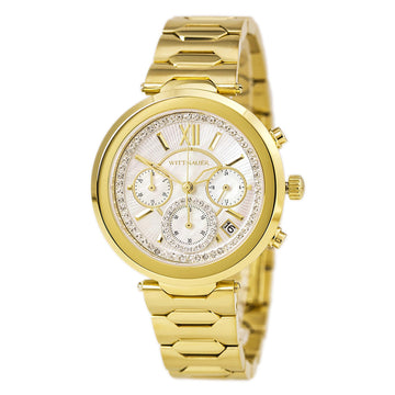 Wittnauer WN4032 Women's Taylor Yellow Gold Steel Bracelet Chronograph White MOP Dial Crystal Watch