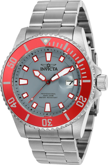 Invicta Men's Stainless Steel Watch - Pro Diver Grey Dial Bracelet Dive | 90291