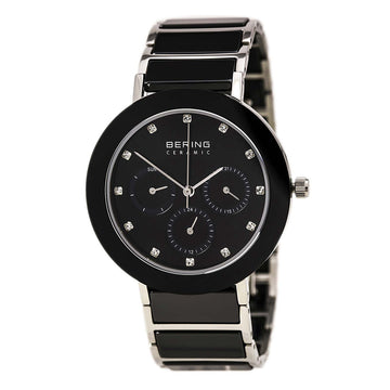 Bering 11438-742 Women's Ceramic Quartz Black Ceramic & Steel Bracelet Black Dial Day-Date Watch