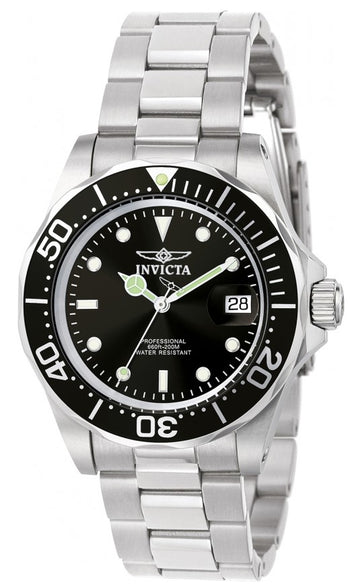Invicta Men's Stainless Steel Watch - Pro Diver Swiss Quartz Black Dial Date | 9307