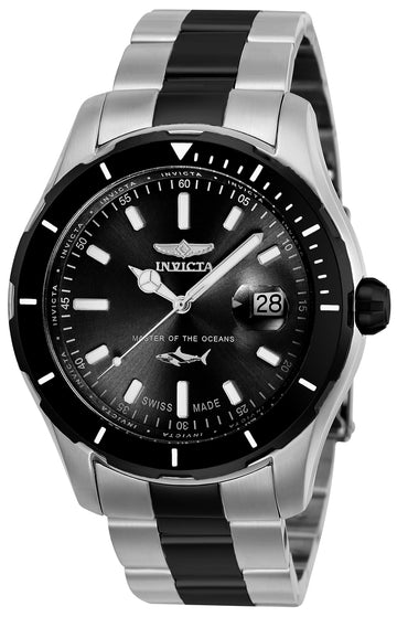 Invicta Men's Two Tone Bracelet Watch - Pro Diver Quartz Black Dial | 25819