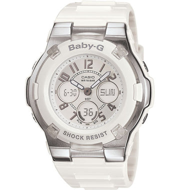 Casio Women's Alarm Watch - Baby-G Slim Marine Series White Ana-Digi Dial | BGA110-7B