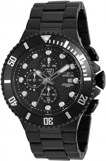Invicta 90080 Men's Pro Diver Chronograph Black Dial Black IP Steel Bracelet Dive Watch