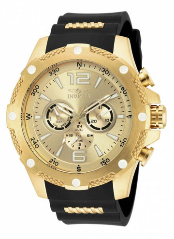 Invicta Men's I-Force Compass Watch - Dual Time Gold Dial Steel & Polyurethane Strap