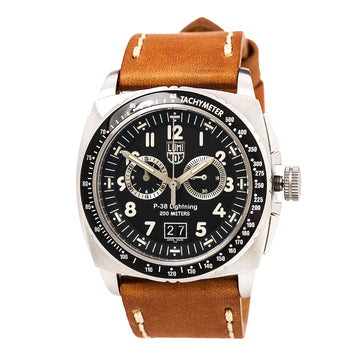 Luminox Men's Chronograph Watch - Air P-38 Lightning 9440 Series Swiss Leather Strap