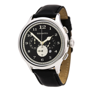 Szanto 2401 Unisex 2400 Series Chronograph Black Dial Quartz Black Leather