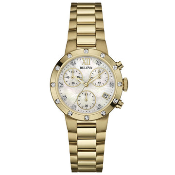 Bulova 98R216 Women's Maiden Lane MOP Dial Yellow Gold Steel Bracelet Chronograph Diamond Watch