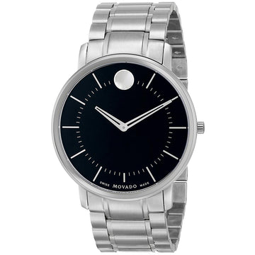 Movado 0606687 Men's Thin Classic Black Dial Steel Watch
