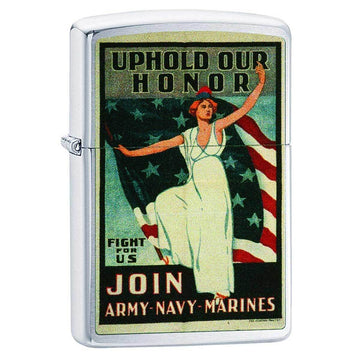 Zippo Windproof Pocket Lighter - Join Army-Navy-Marines Brushed Chrome | 29599