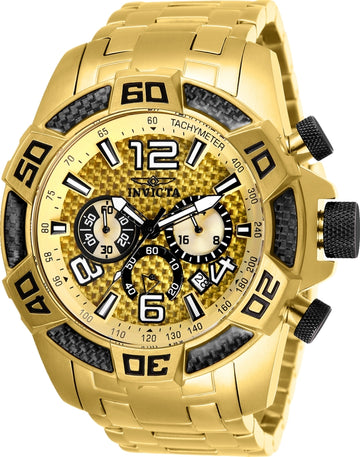 Invicta Men's Chronograph Watch - Pro Diver Gold Dial Yellow Gold Bracelet | 25854