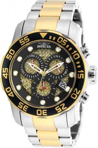 Invicta Men's Chronograph Two Tone Watch - Pro Diver Gold & Black Dial Date | 19839