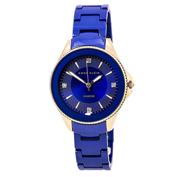 Anne Klein 2390RGCB Women's Diamond Accented Blue Dial Cobalt Blue Ceramic Bracelet Watch