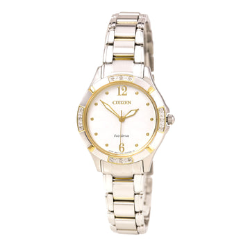 Citizen Women's Diamond Watch - Eco Drive White Dial Two Tone Steel | EM0454-52A