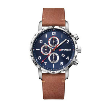 Wenger Men's Chronograph Watch - Attitude Brown Leather Strap | 01.1543.108