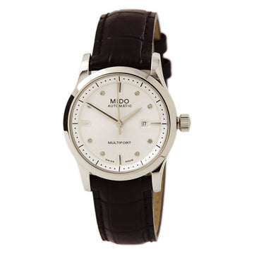Mido M0050071603620 Women's Multifort Silver Dial Black Leather Strap