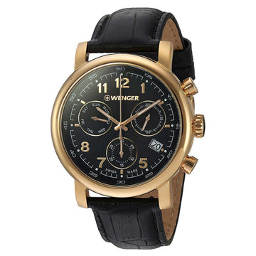 Wenger 01.1043.107 Men's Urban Classic Chrono Black Leather Strap Swiss Black Dial Day Date Watch