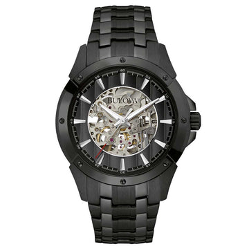 Bulova 98A147 Men's Black & Silver Skeleton Dial Black IP Steel Bracelet Automatic Watch