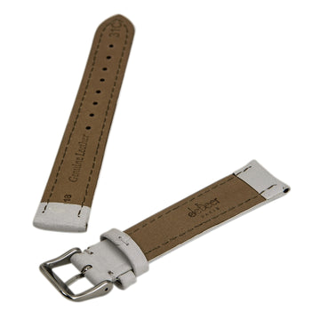 Debeer White 18 mm Wide Genuine Leather Strap