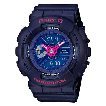 Casio BA110PP-2A Women's Blue Resin Strap Quartz Baby-G Ana-Digital Blue Dial World Time Watch