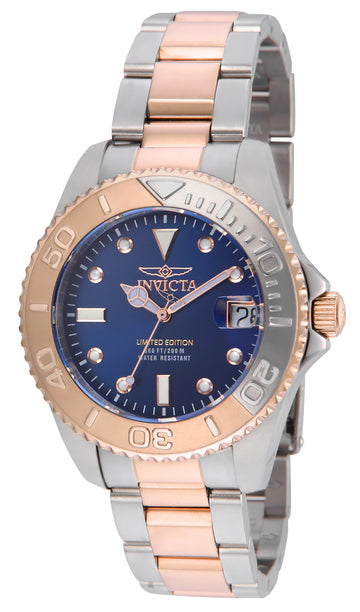 Invicta 24635 Women's Pro Diver Blue Dial Two Tone Rose Gold Steel Bracelet Dive Watch