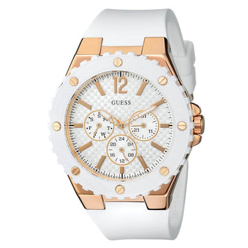 Guess U0452L1 White Dial Women's White Silicone Band Watch